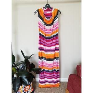 Calvin Klein cowl neck multi-colored maxi dress